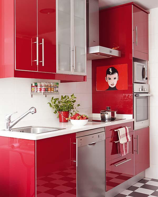 Red And Black Kitchen Units: Decoração De Cozinhas Coloridas