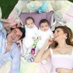 Jorge Salinas e Elizabeth Álvarez comemoram a Páscoa ao lado dos seus filhos