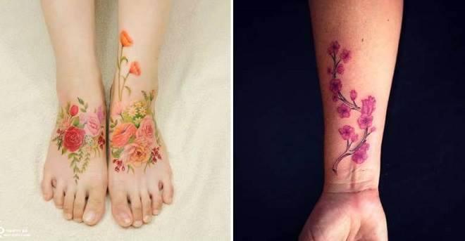 tatuagens de flores coloridas