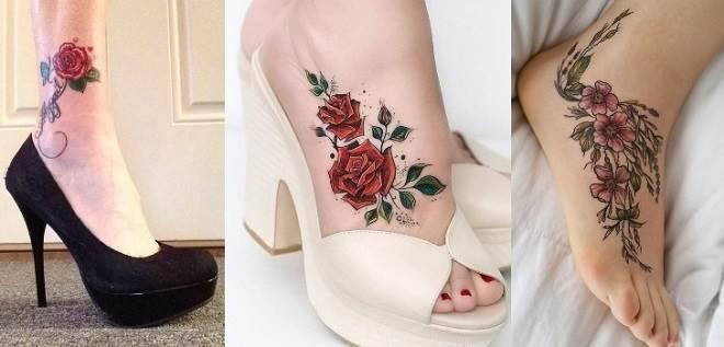 tatuagens de flores no pé